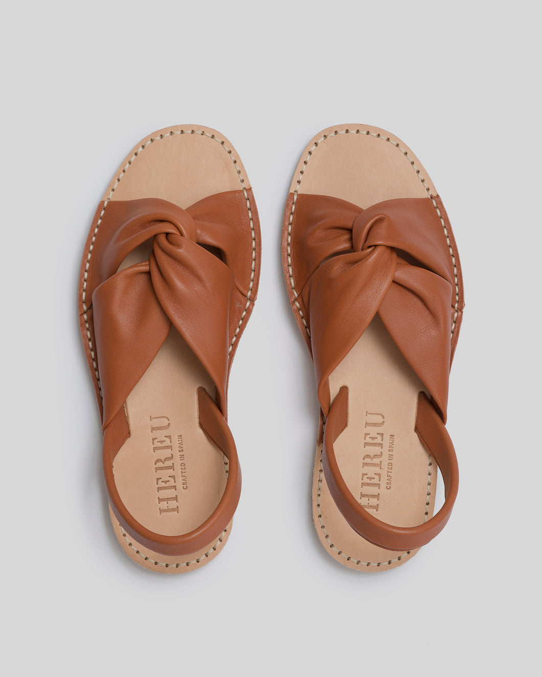 ADDAIA - Knot Leather Flat Sandal