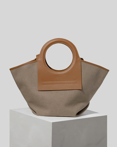 CALA S - Leather-trimmed Canvas Tote