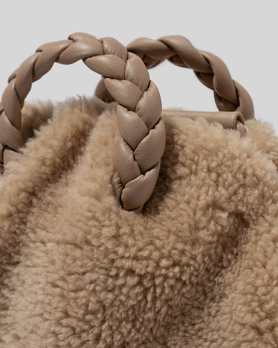 BOMBON - Small Plaited-handle Leather Shearling Crossbody
