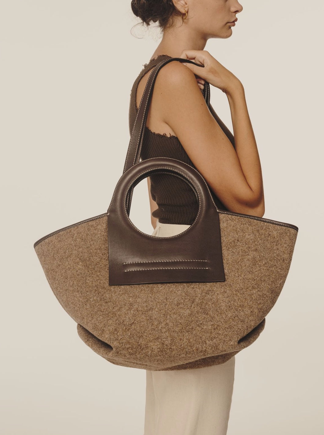 CALA S - Leather-trimmed Felt Tote