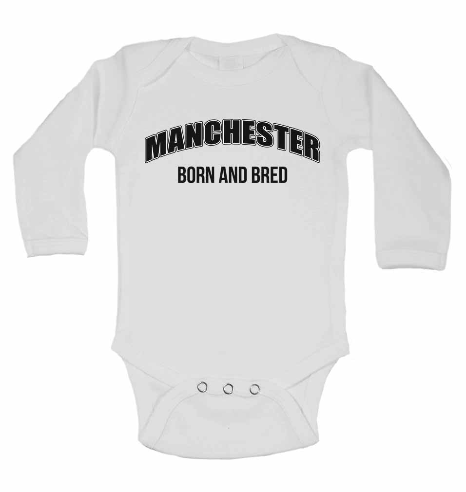 Manchester Born and Bred - Long Sleeve Baby Vests for Boys & Girls
