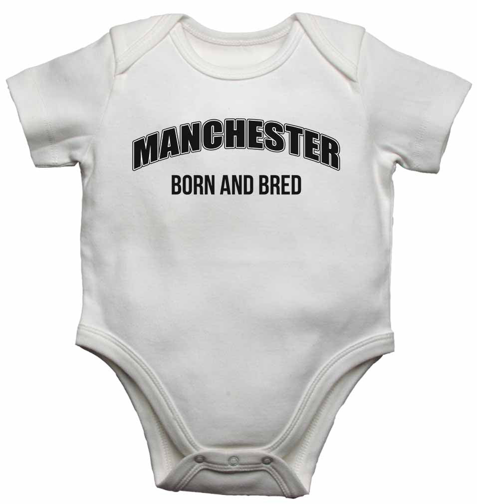 Manchester Born and Bred - Baby Vests Bodysuits for Boys, Girls