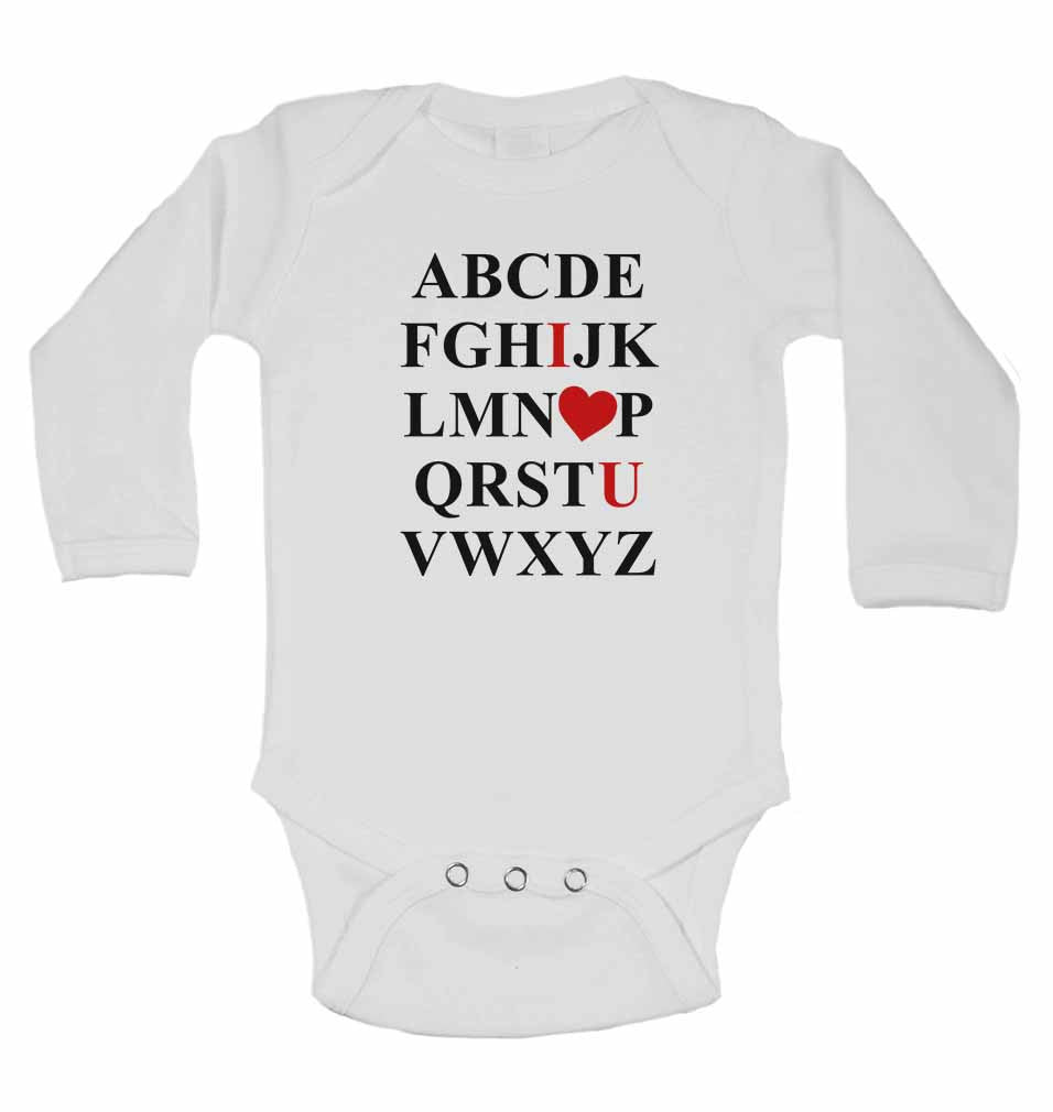 ABCDEFGHIJKLMNOPQRSTUVWXYZ - Long Sleeve Baby Vests for Boys & Girls