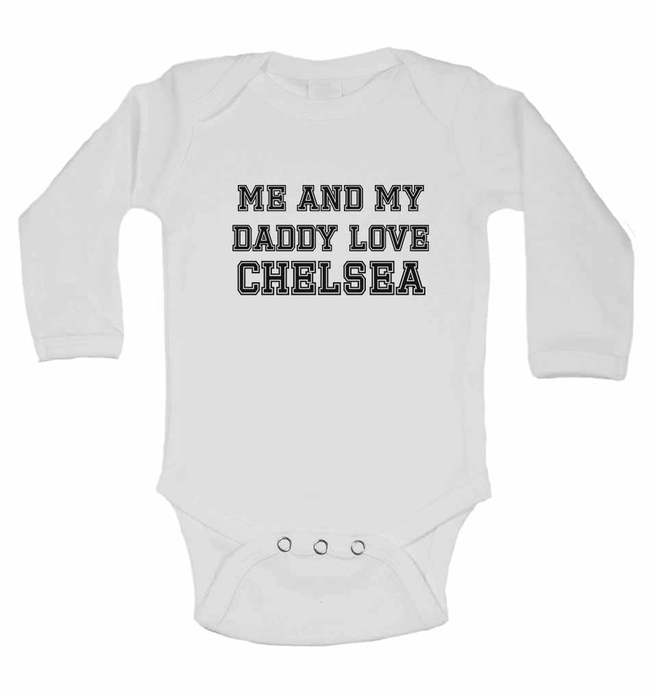 Me and My Daddy Love Chelsea, for Football, Soccer Fans - Long Sleeve Baby Vests
