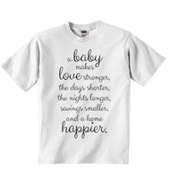 A Baby Makes Love Stronger and a Home Happier - Baby T-shirt