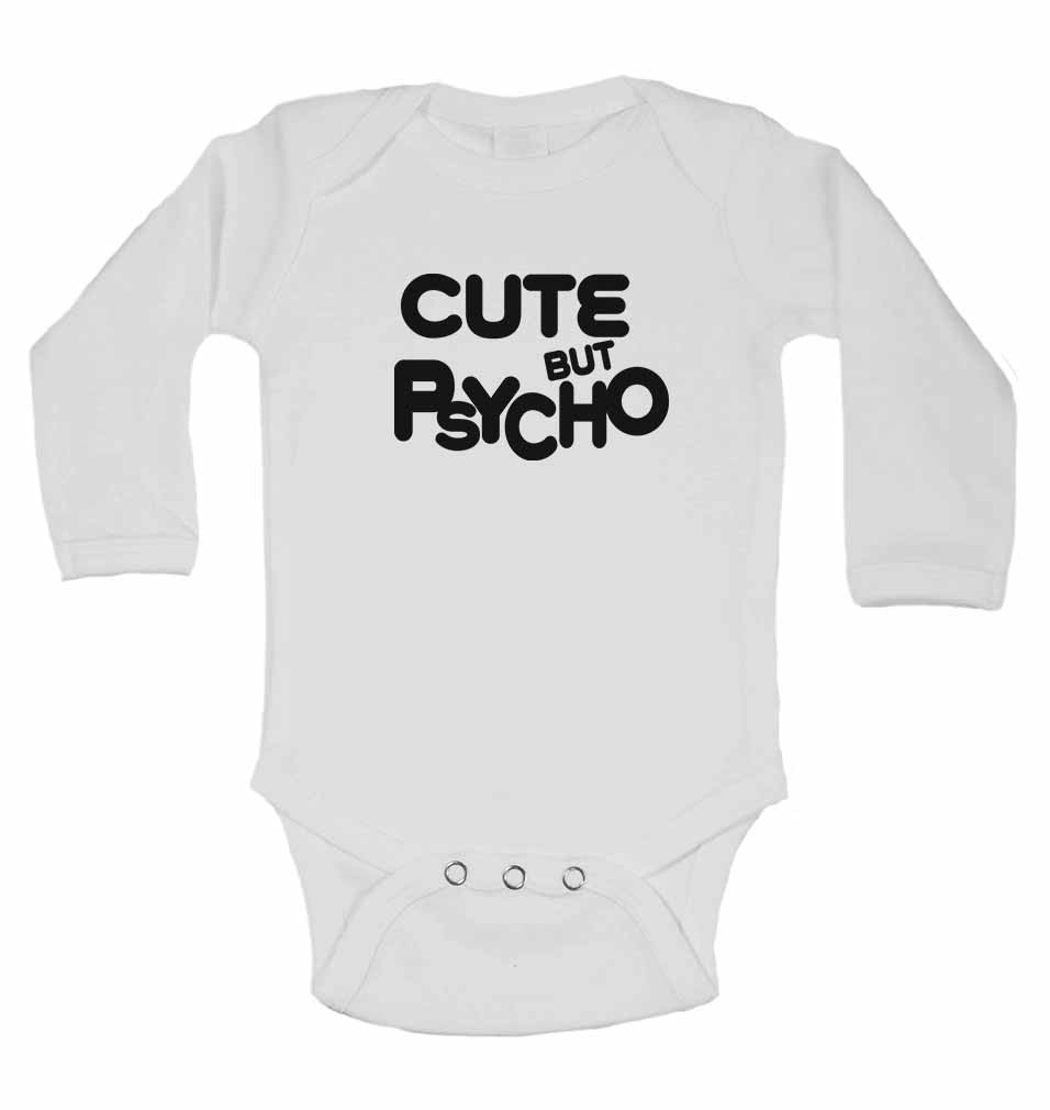 Cute But Psycho - Long Sleeve Baby Vests for Boys & Girls
