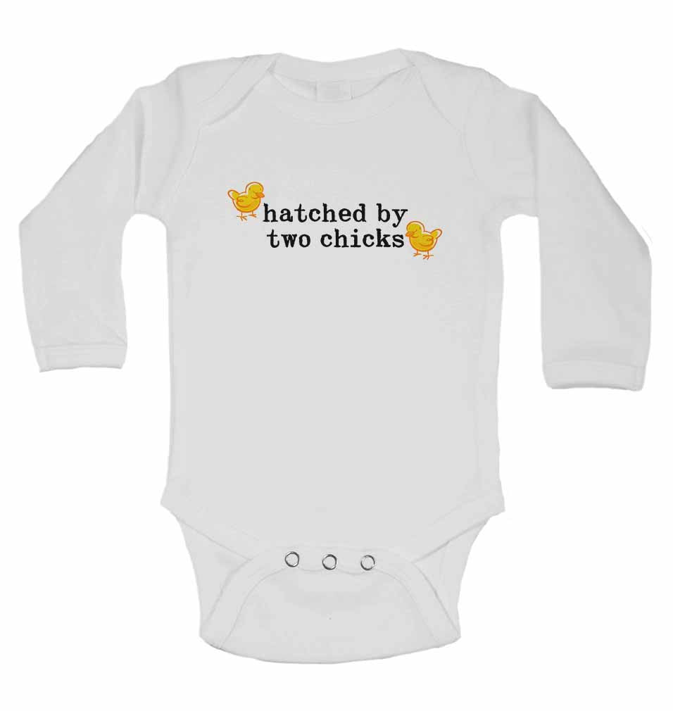 Hatched By Two Chicks - Long Sleeve Baby Vests for Boys & Girls