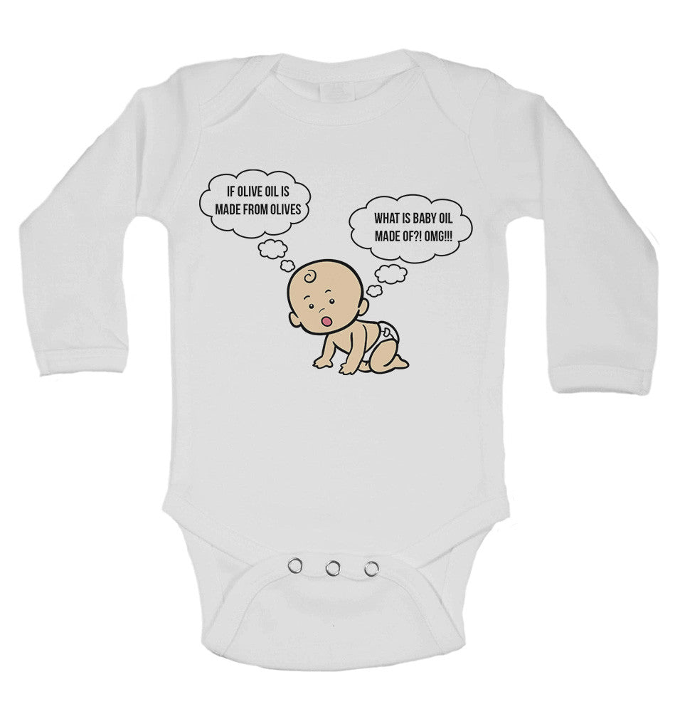 If Olive Oil is Made From Olives What is Baby Oil Made of?! OMG!!! Long Sleeve Baby Vests