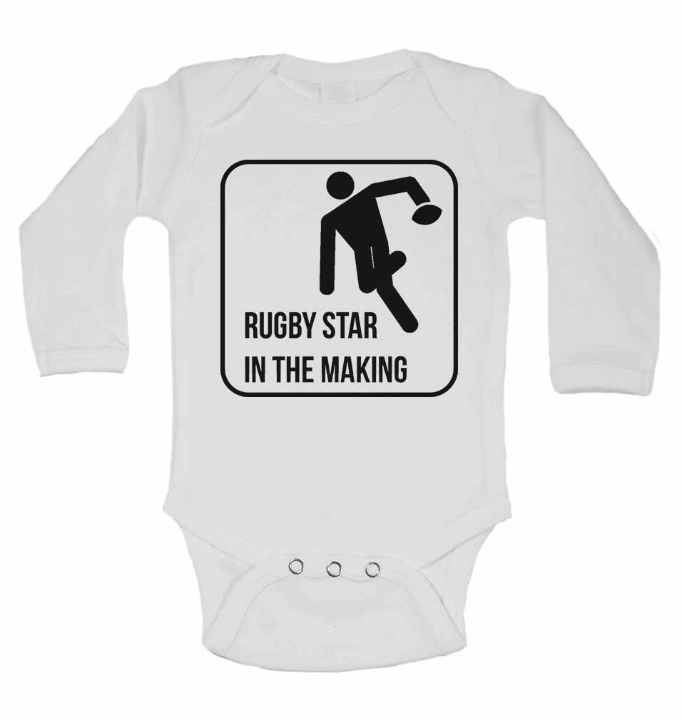 Rugby Star in The Making - Long Sleeve Baby Vests