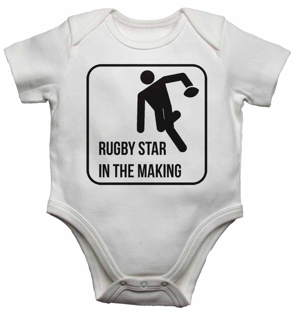 Rugby Star in The Making - Baby Vests Bodysuits for Boys, Girls