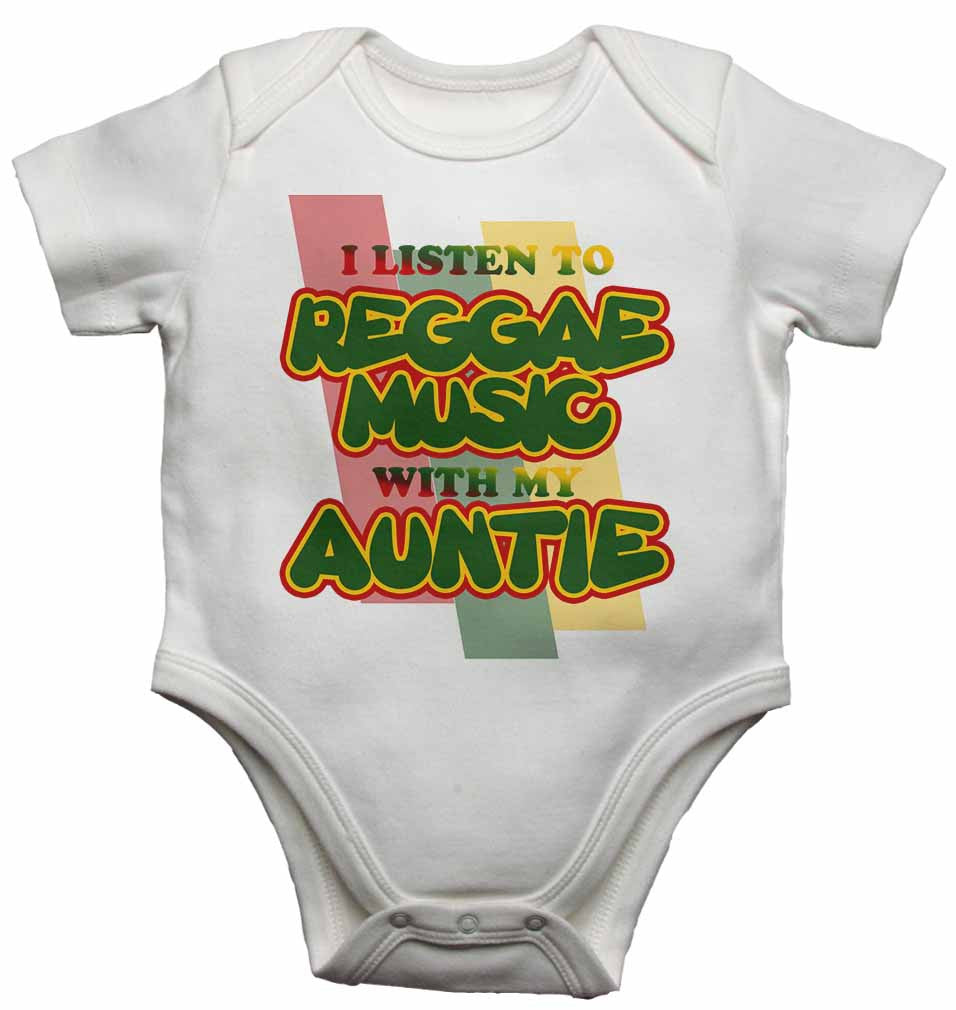 I Listen to Reggae Music With My Auntie - Baby Vests Bodysuits for Boys, Girls