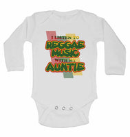 I Listen to Reggae Music With My Auntie - Long Sleeve Baby Vests for Boys & Girls