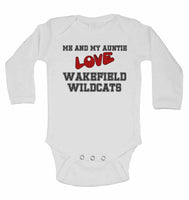 Me and My Auntie Love Wakefield Wildcats - Long Sleeve Baby Vests for Boys & Girls