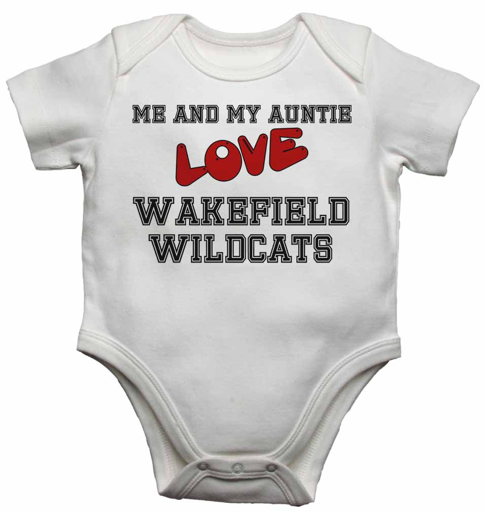 Me and My Auntie Love Wakefield Wildcats - Baby Vests Bodysuits for Boys, Girls
