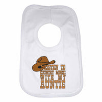 I Listen to Country Music With My Auntie Boys Girls Baby Bibs