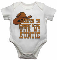 I Listen to Country Music With My Auntie - Baby Vests Bodysuits for Boys, Girls