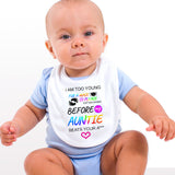Personalised Soft Cotton Baby Bib I Am Too Young For Mask For Boys & Girls