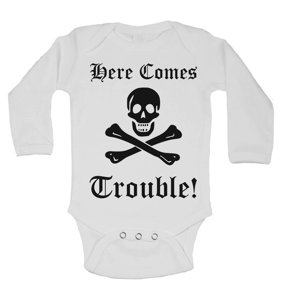 There Comes Trouble! Long Sleeve Baby Vests