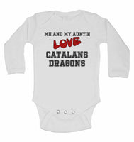 Me and My Auntie Love Catalans Dragons - Long Sleeve Baby Vests for Boys & Girls