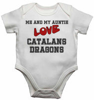 Me and My Auntie Love Catalans Dragons - Baby Vests Bodysuits for Boys, Girls