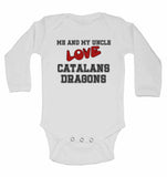 Me and My Uncle Love Catalans Dragons - Long Sleeve Baby Vests for Boys & Girls