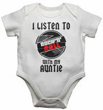 I Listen to Rock N Roll With My Auntie - Baby Vests Bodysuits for Boys, Girls