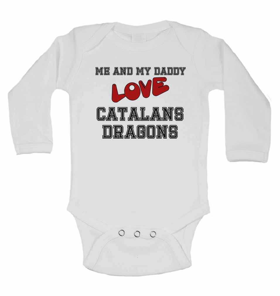 Me and My Daddy Love Catalans Dragons - Long Sleeve Baby Vests for Boys & Girls