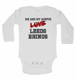 Me and My Auntie Love Leeds Rhinos - Long Sleeve Baby Vests for Boys & Girls