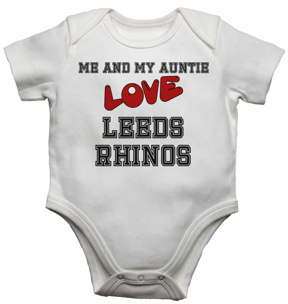 Me and My Auntie Love Leeds Rhinos - Baby Vests Bodysuits for Boys, Girls