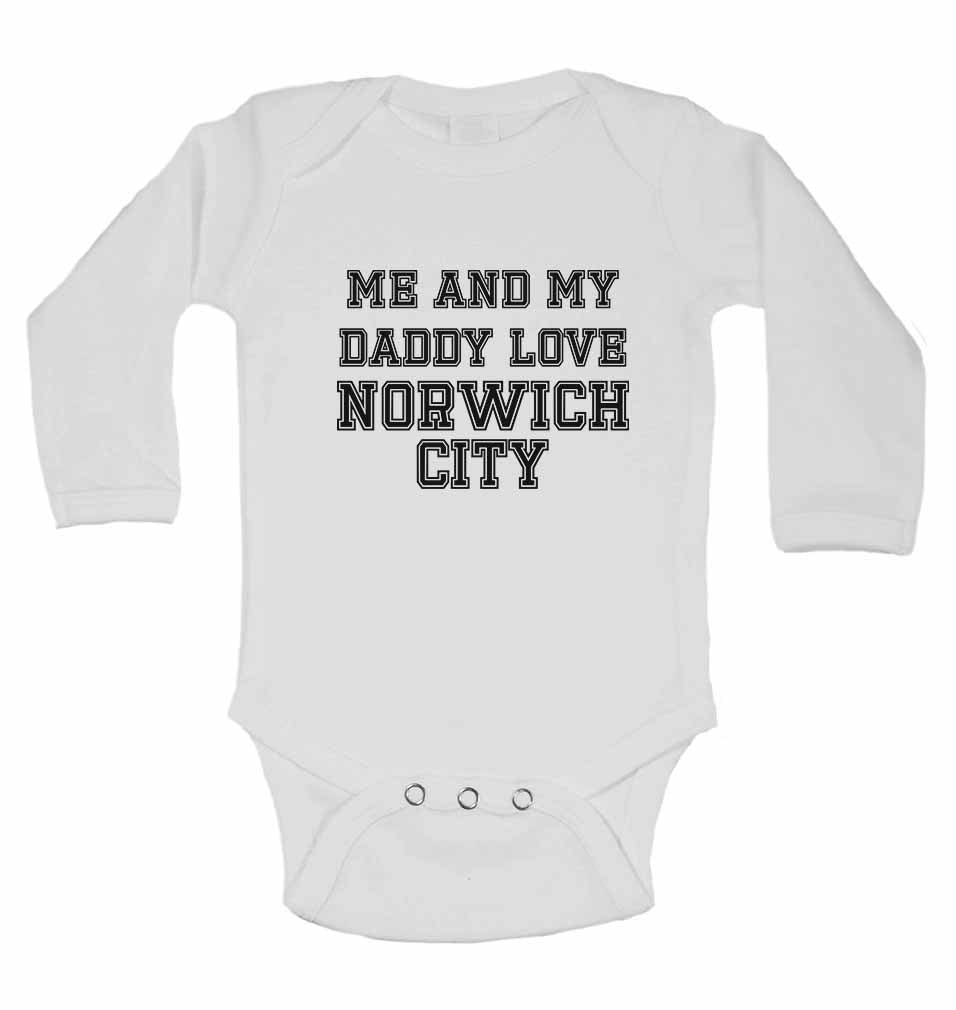 Me and My Daddy Love Norwich City, for Football, Soccer Fans - Long Sleeve Baby Vests