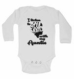 I Listen to Soul Music With My Auntie - Long Sleeve Baby Vests for Boys & Girls