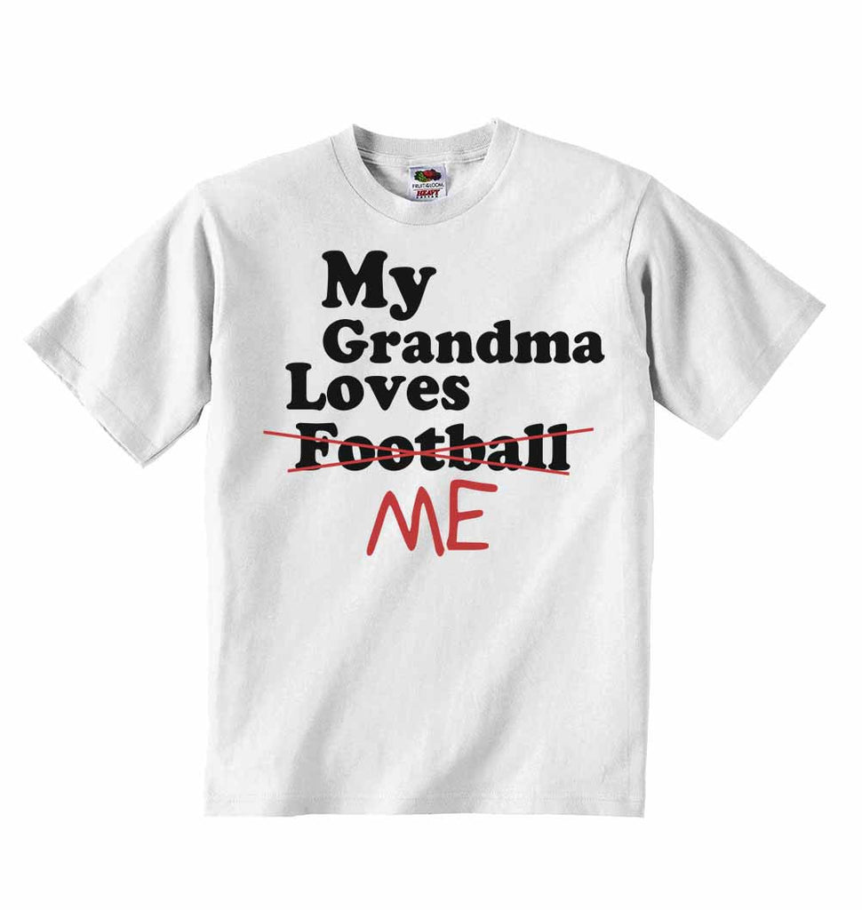 My Grandma Loves Me not Football - Baby T-shirts