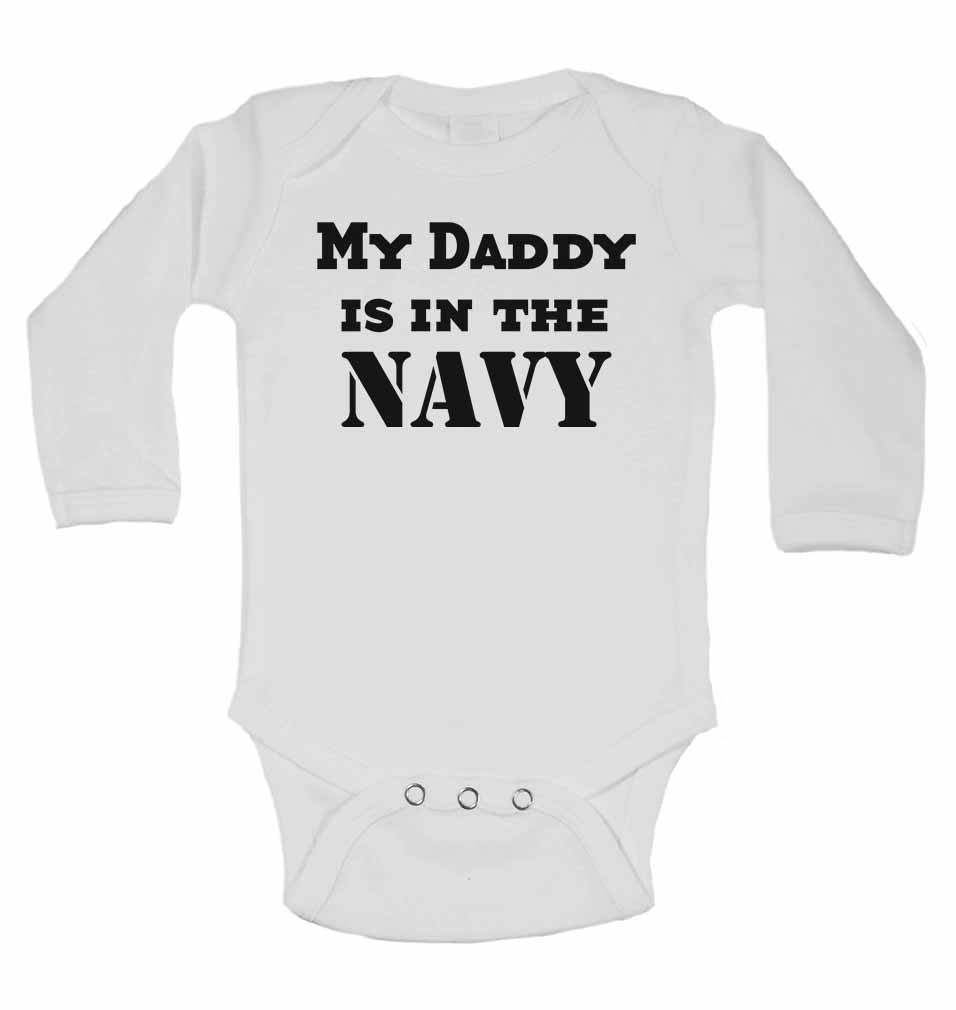 My Daddy is in The Navy - Long Sleeve Baby Vests