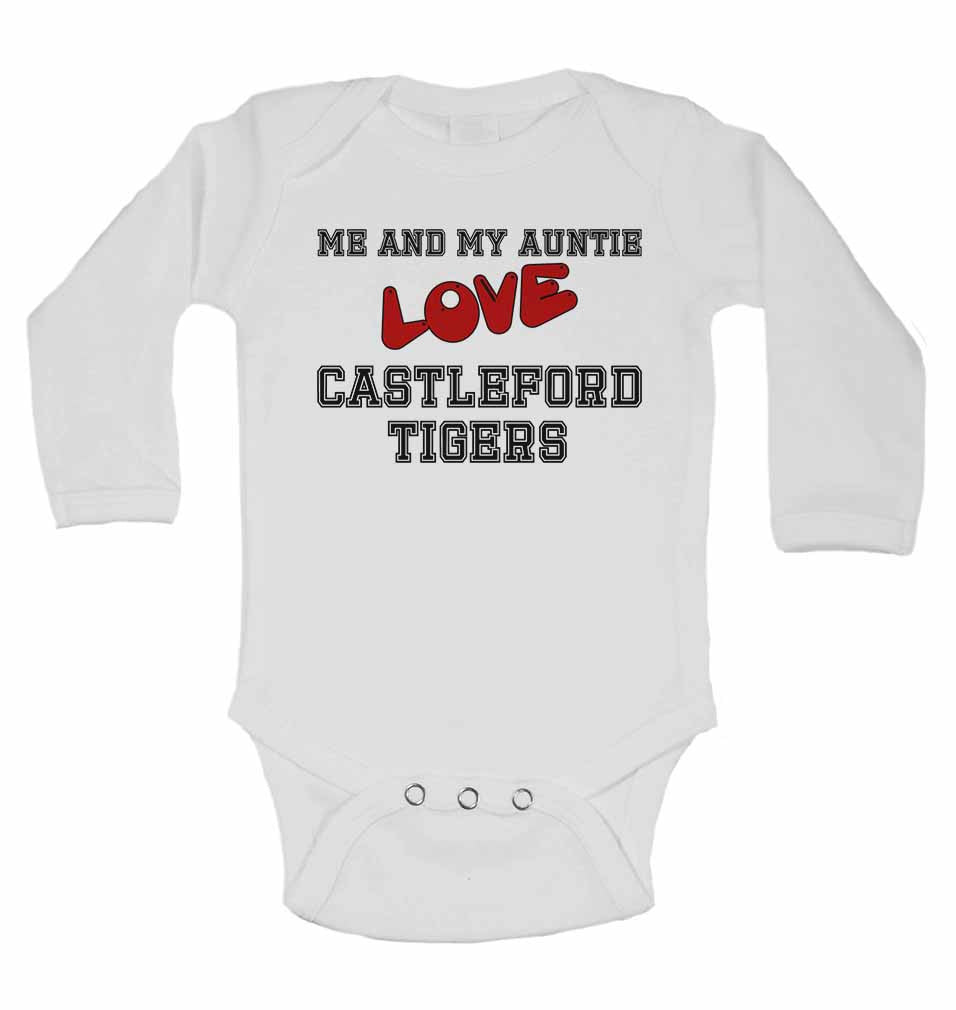 Me and My Auntie Love Castleford Tigers - Long Sleeve Baby Vests for Boys & Girls