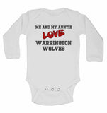 Me and My Auntie Love Warrington Wolves - Long Sleeve Baby Vests for Boys & Girls