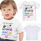 Soft Cotton Baby T-shirt I Am Too Young For Mask Gift for Boys & Girls