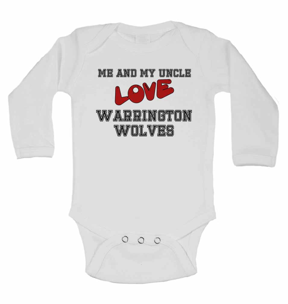 Me and My Uncle Love Warrington Wolves - Long Sleeve Baby Vests for Boys & Girls
