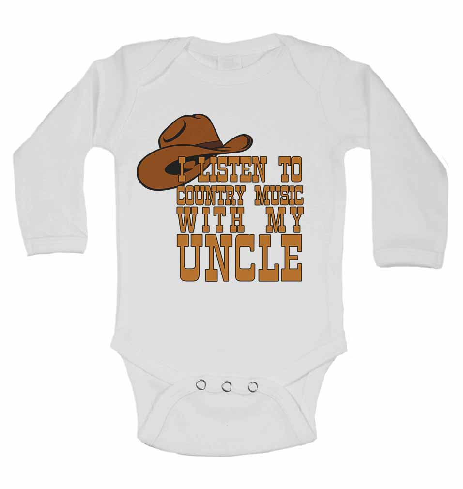 I Listen to Country Music With My Uncle - Long Sleeve Baby Vests for Boys & Girls