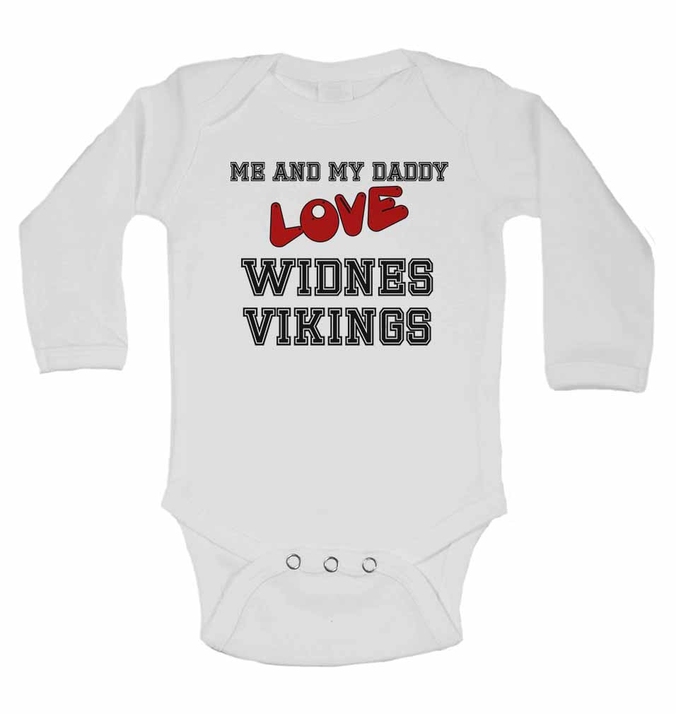 Me and My Daddy Love Widnes Vikings - Long Sleeve Baby Vests for Boys & Girls