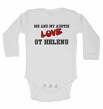 Me and My Auntie Love St Helens - Long Sleeve Baby Vests for Boys & Girls