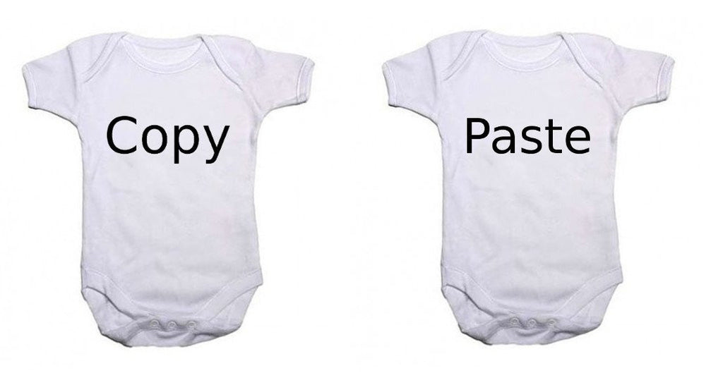 """Copy"" and ""Paste"" Twin Pack Baby Vests Bodysuits"