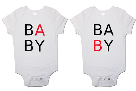"""Baby B"" ""Baby A"" Twin Pack Baby Vests Bodysuits"