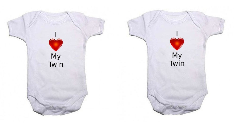 I Love My Twin Twin Pack Baby Vests Bodysuits