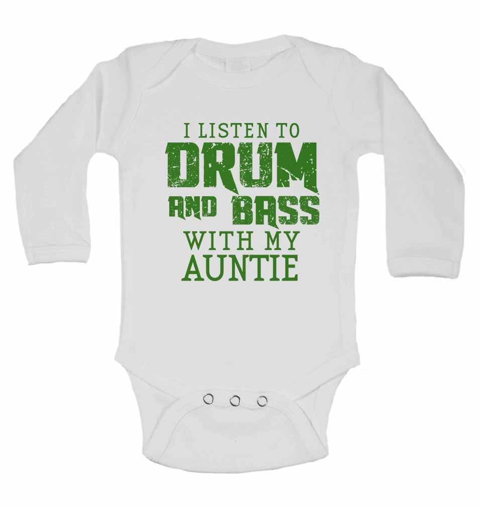 I Listen to Drum & Bass With My Auntie - Long Sleeve Baby Vests for Boys & Girls