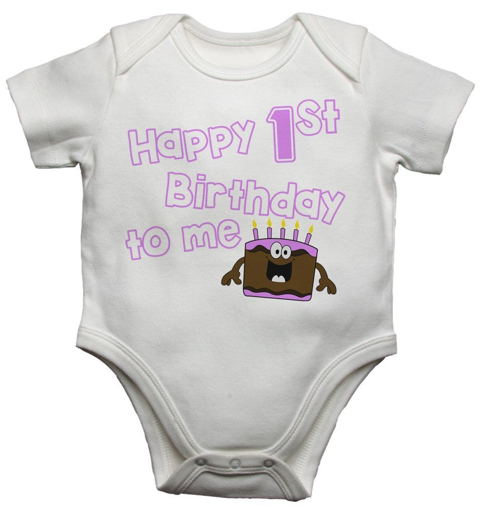 Happy First Birthday To Me Baby Girls Vests Bodysuits
