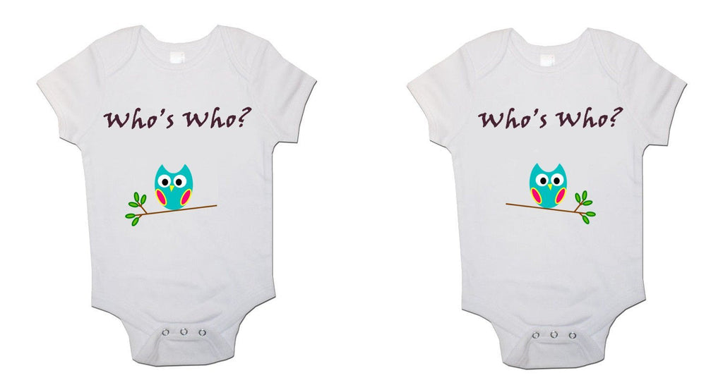 Whos Who Twin Pack Baby Vests Bodysuits