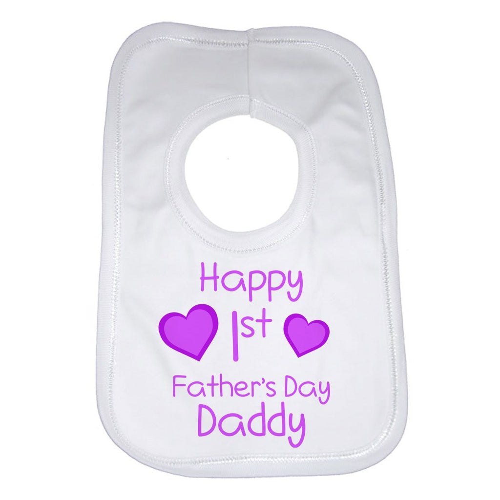 Happy 1st Fathers Day Daddy Girls Baby Bib