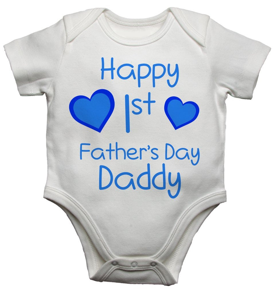 Happy 1st First Fathers Day Daddy Boys Baby Vests Bodysuits