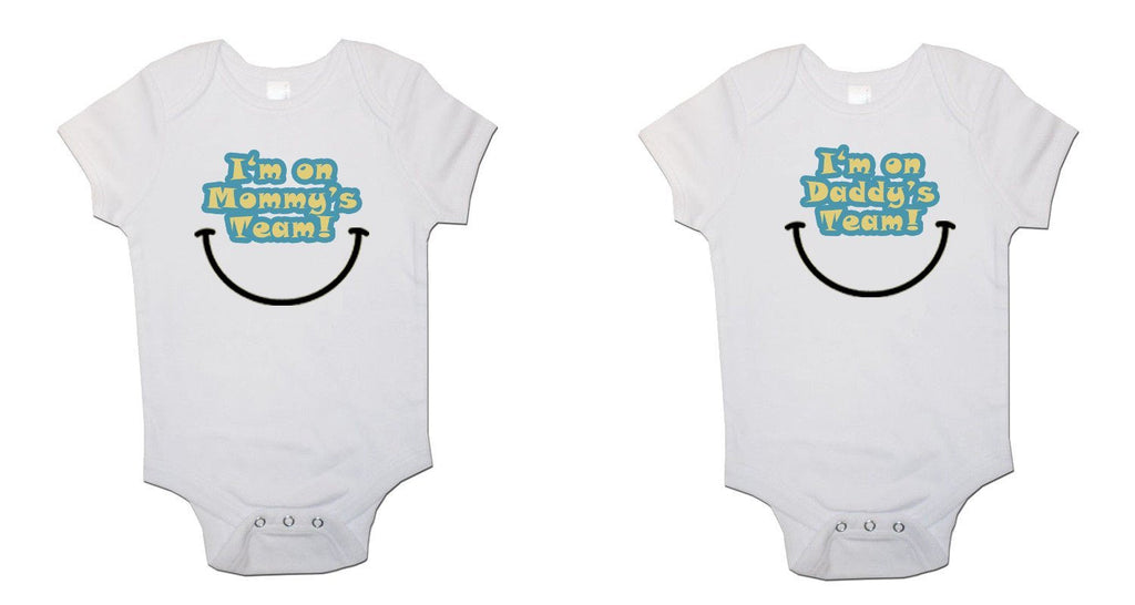 Mummy and Daddys Team Twin Pack Baby Vests Bodysuits