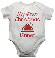 My First Christmas Dinner Baby Vests Bodysuits